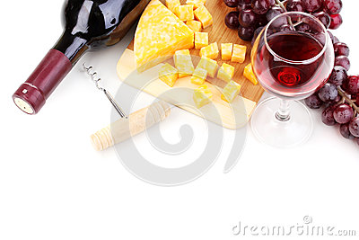 Bottle of great wine with wineglass and cheese
