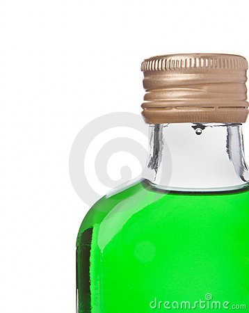 Bottle with green alcohol