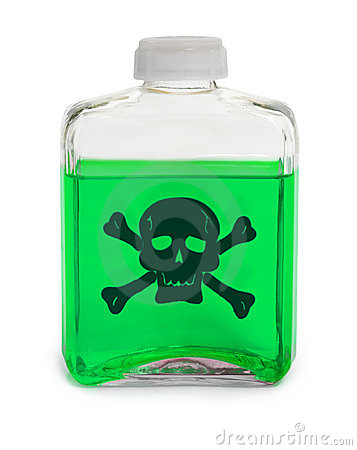 Bottle with green toxic chemical solution