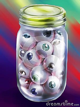 Bottle of human eyeballs