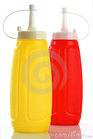 Bottle ketchup and mustard