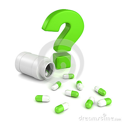 Illustration: Bottle for medical pill tablets with green question mark