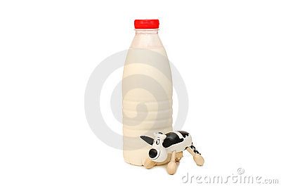 Bottle of Milk and toy cow