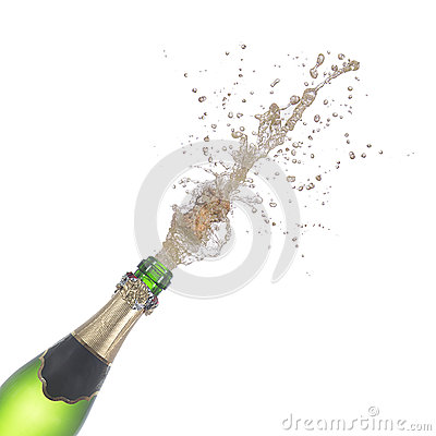 Free Bottle Of Champagne Popping Its Cork And Splashing Stock Photos - 85864233