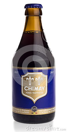 Free Bottle Of Chimay Blue Beer Royalty Free Stock Image - 90048096