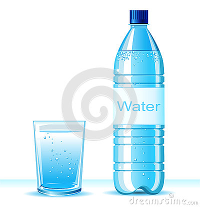 Free Bottle Of Clean Water And Glass On White Backgroun Stock Images - 33322854