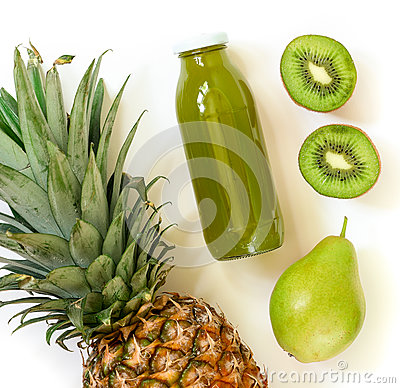 Free Bottle Of Kiwi, Pineapple, Pear Juice Isolated On White And Ingredients. Royalty Free Stock Photography - 88715837