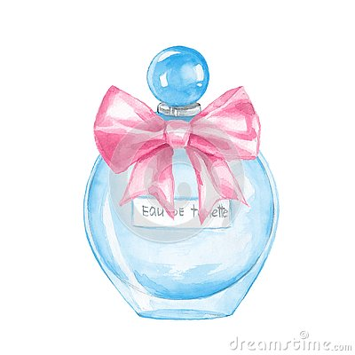 Free Bottle Of Perfume. Watercolor Stock Photos - 127495413