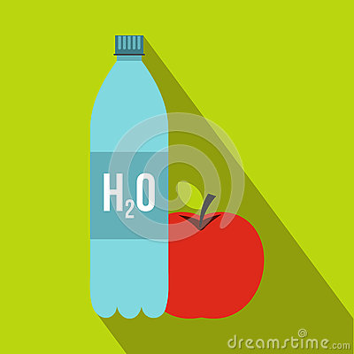 Free Bottle Of Water And Red Apple Icon, Flat Style Stock Images - 78830624