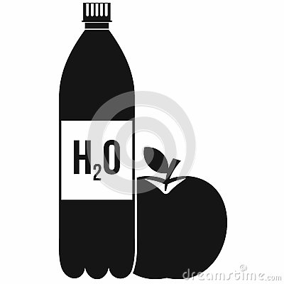 Free Bottle Of Water And Red Apple Icon, Simple Style Royalty Free Stock Photography - 78830487