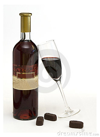 Free Bottle Of Wine And Chocolate Stock Image - 3735761