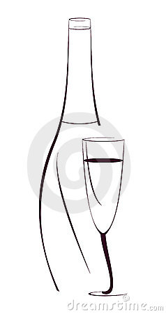 Free Bottle Of Wine And The Glass - Vector Illustration Stock Photo - 10253490