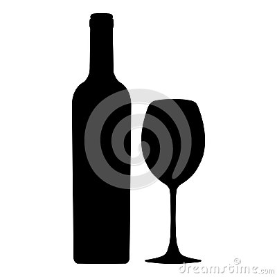 Free Bottle Of Wine And Wineglass Vector Icon, Logo, Sign, Emblem, Silhouette Isolated On White Background Stock Photos - 109355033