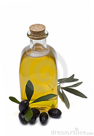 Bottle with olive oil.