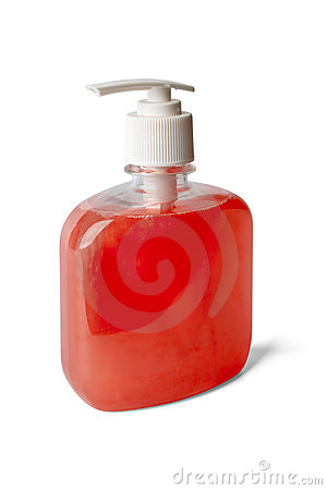 Bottle of pearl - reddish liquid soap