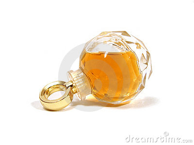 Bottle of perfume over white background