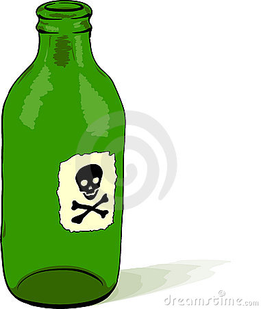 Bottle with poison symbol - vector illustration