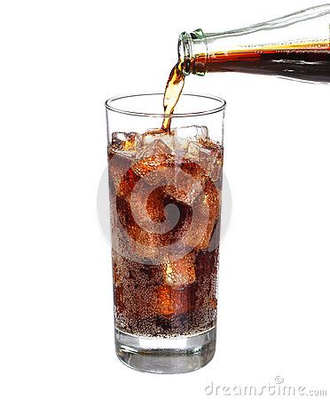 Free Bottle Pouring Coke In Drink Glass With Ice Cubes Isolated Royalty Free Stock Image - 57156996