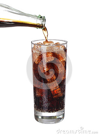 Free Bottle Pouring Coke In Drink Glass With Ice Cubes Isolated Royalty Free Stock Photography - 57156997