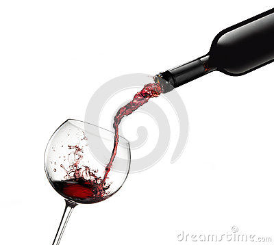 Free Bottle Pouring Red Wine In Glass With Splashes Royalty Free Stock Photos - 62215078