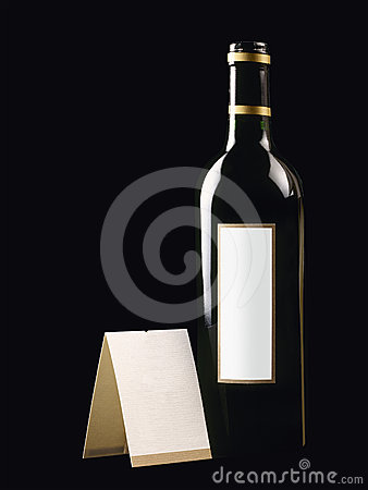 Bottle with red wine and blank card