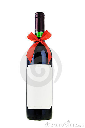 Bottle Of Red Wine With Bow Ribbon Royalty Free Stock