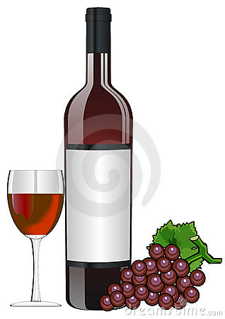 Bottle of red wine with glass and grapes