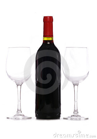 Bottle of red wine with two wine glasses