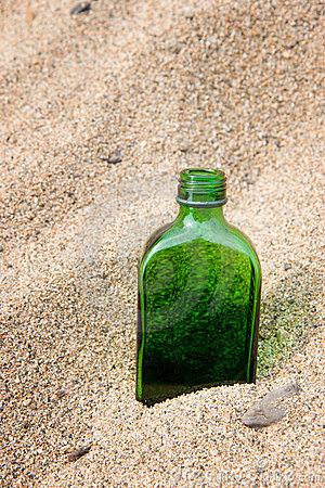 Bottle in sand