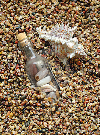 Bottle on sea-beach background