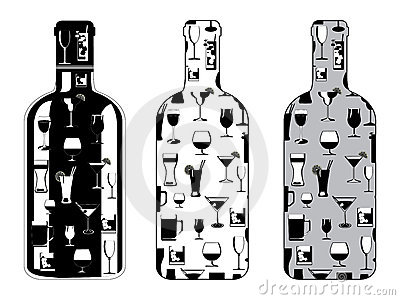 Bottle set with drinking glasses