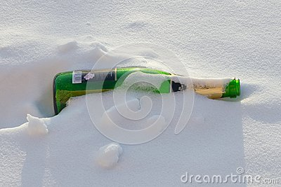 Bottle and snow.