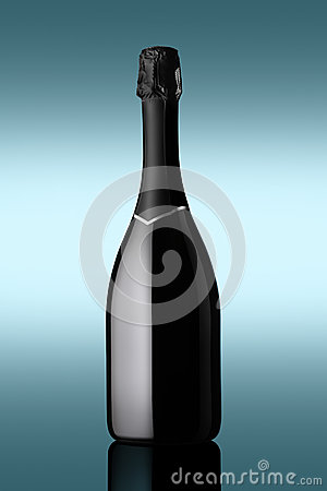 Bottle of sparkling wine on blue background with light effects