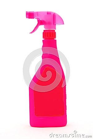 Pink spray cleaner bottle