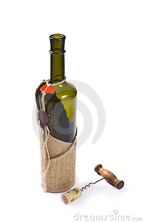 Bottle with a stopper and a corkscrew