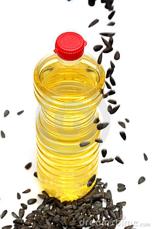 Bottle with sunflower-seed oil