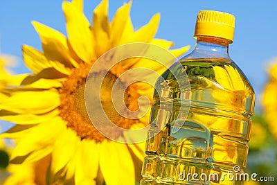 Bottle of sunflowers oil Stock Photo
