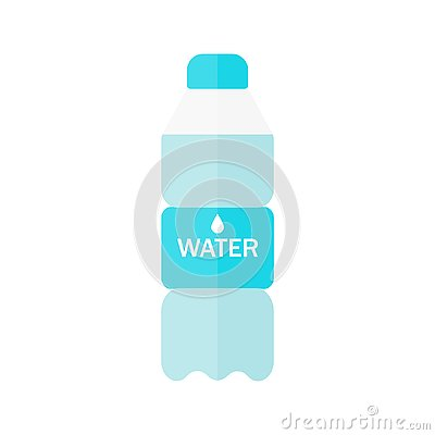 Bottle of water icon in flat style isolated on blue background. Vector illustration. Cartoon Illustration