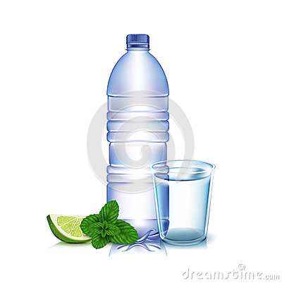 Bottle of water with lemon and mint leaves