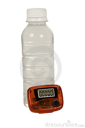 Bottle of Water With Pedometer
