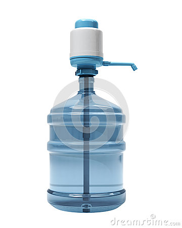 Bottle of water with the pump