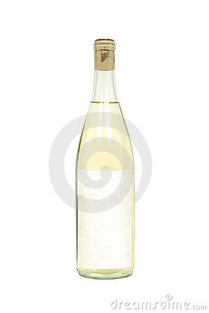 Bottle of White Wine with Blank Label