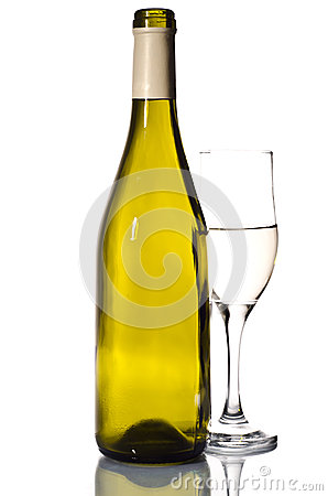 Bottle of white wine and glass
