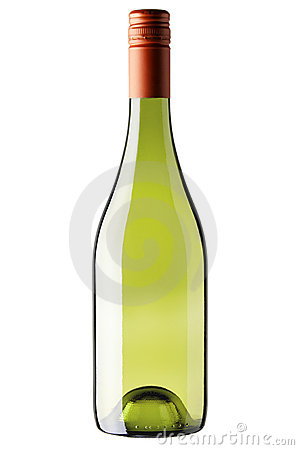 Bottle of white wine isolated on white