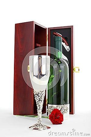 Bottle of white wine and sommelier set
