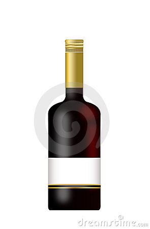 Bottle of Wine with a blank label isolated