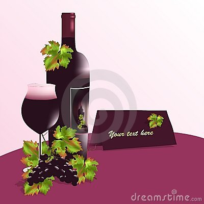 Bottle of wine and glass, cdr vector