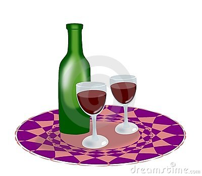 Bottle of wine and glasses.