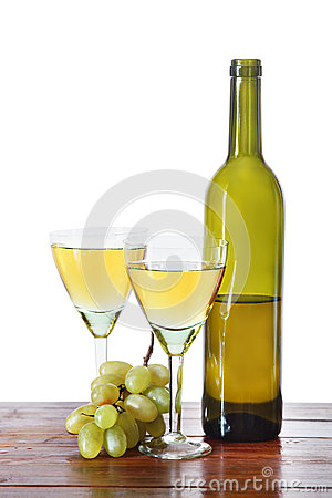 Bottle of wine and grape bunches