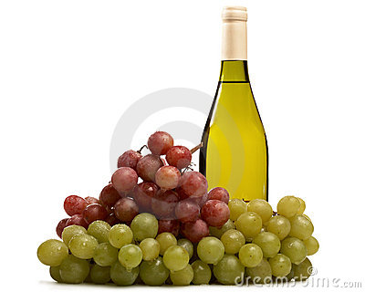 Bottle of wine with grapes isolated